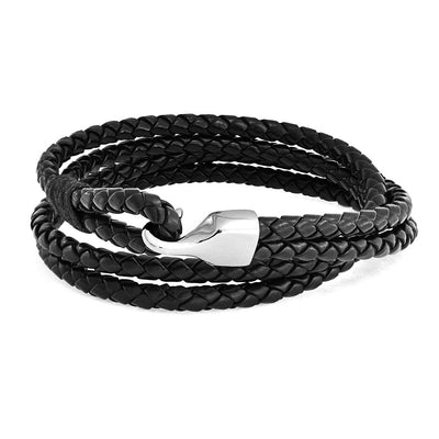 Black Braided Woven Leather Wrap Bracelet Hook Eye Stainless Steel