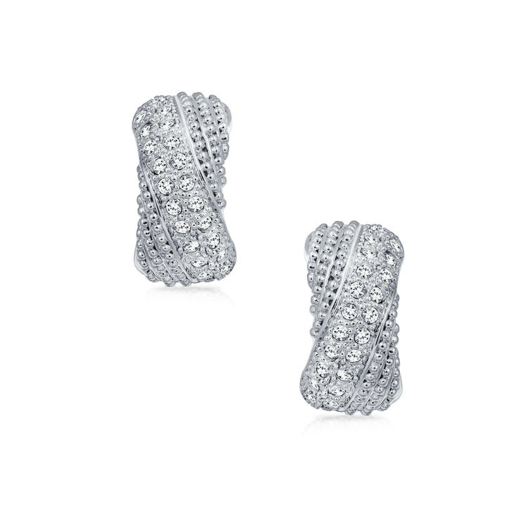 Criss Cross Twisted Pave Dome Hoop Clip On Earrings Silver Plated