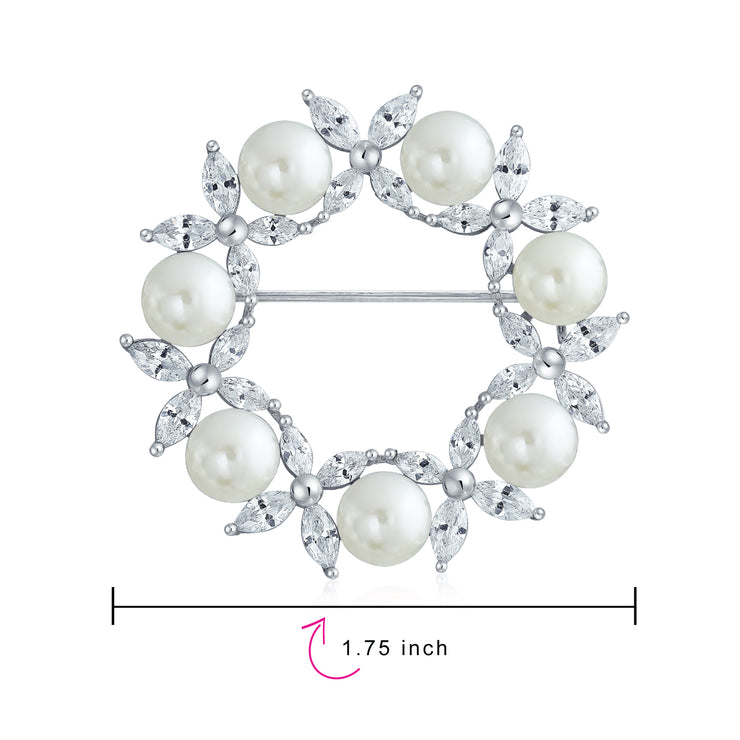 Marquise CZ Round White Imitation Pearl Wreath Circle Scarf Brooch Pin