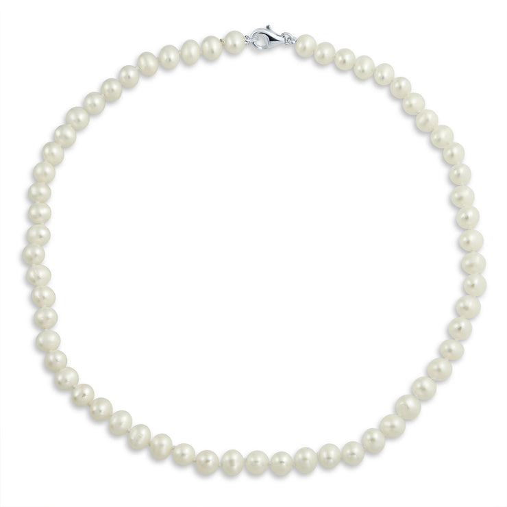 Bridal White Freshwater Cultured Pearl Strand Necklace 6MM 16inch