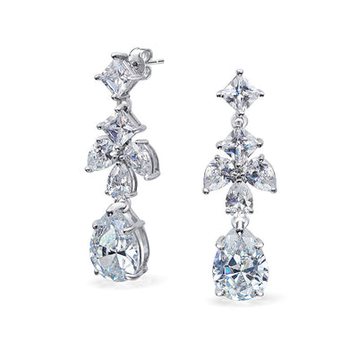 CZ Leaf Marquise Tear Statement Chandelier Earrings Silver Plated