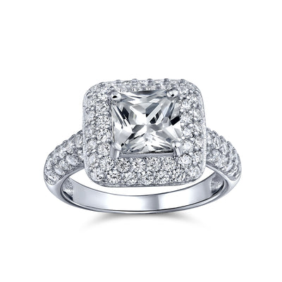 3CT Princess Cut Solitaire AAA CZ Halo Engagement Ring Sterling Silver