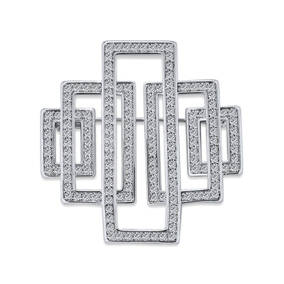 Art Deco Vintage Style Large Rectangular Cubic Zirconia Brooch Pin