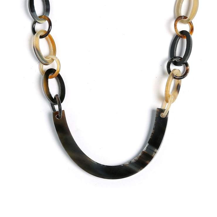 Earth Tone Brown Handmade Buffalo Horn Round Oval Chain Bar Necklace