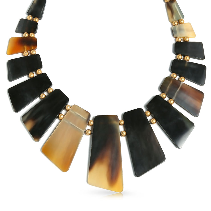 Buffalo Horn Boho Fan Bib Statement Necklace Woman Gold Plated Ball