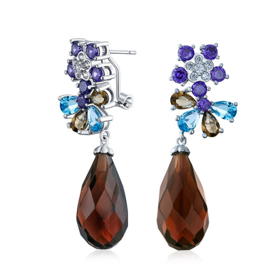Purple Burgundy CZ Teardrop Flower Statement Earrings Silver Plated