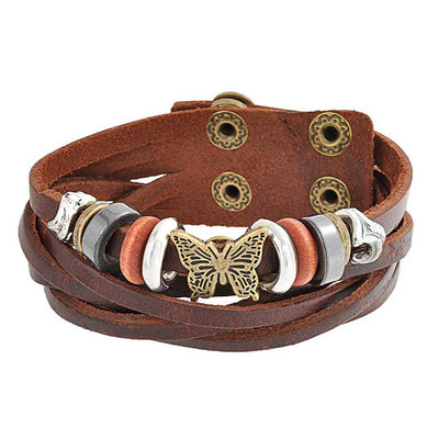 Butterfly Multi Charm Brown Leather Multistrand Wrap Cuff Bracelet
