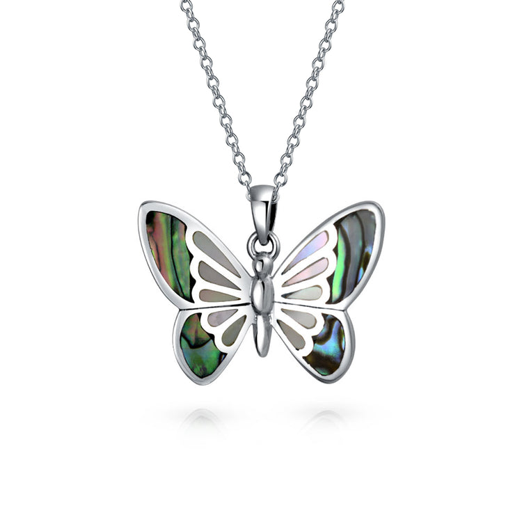 Butterfly Dangle Pendant Abalone Shell Necklace 925 Sterling Silver