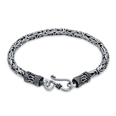 Bali Byzantine Chain Link Bracelet Eye And Hook 925 Sterling Silver