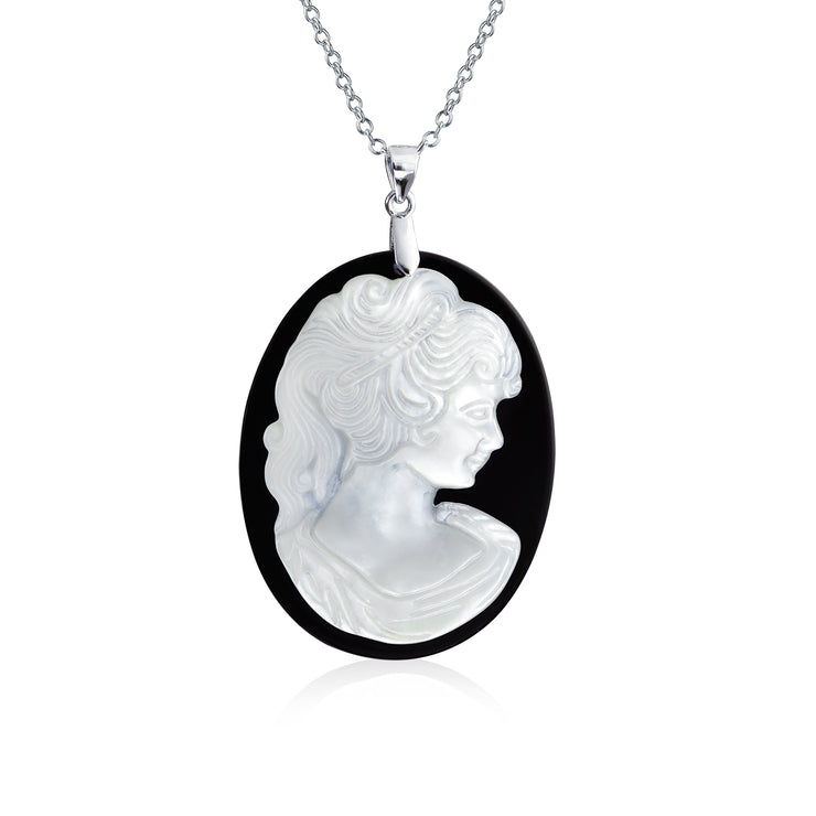 Victorian Lady Mother of Cameo Oval Pendant Sterling Silver Necklace