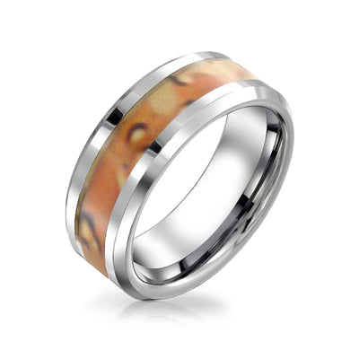 Army Military Camouflage Inlay Wedding Band Titanium Ring For Men 8MM