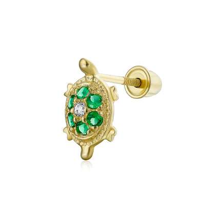 Turtle Cartilage Ear Lobe CZ Flower Stud Earring 14K Gold Screwback