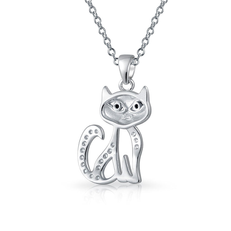 Cute Sitting Kitty Kitten Cat Pendant CZ Pet Necklace Sterling Silver