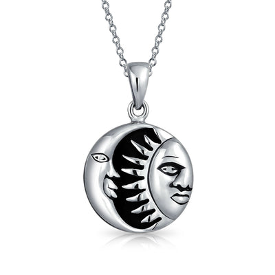 Celestial Crescent Sun Onyx Pendant Necklace Sterling Silver