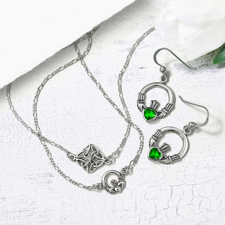Celtic Knot Triquetra Love Knot Anklet Sterling Silver 9 to 10 In