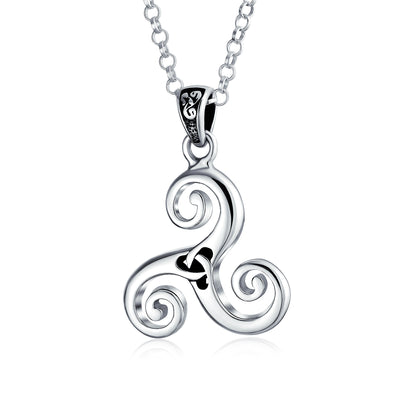 Celtic Triskele Triquetra Trinity Knot Pendant 925 Sterling Silver