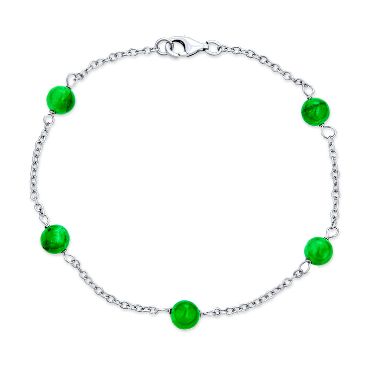 Tin Cup Light Green Jade Ball Bead Chain Bracelet 925 Sterling Silver