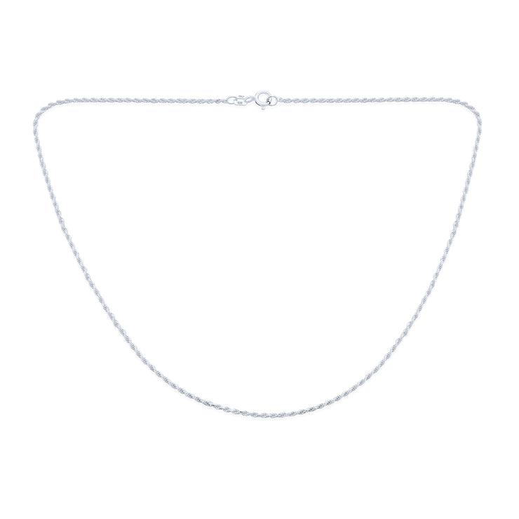 Rope Chain 2 MM 030 Gauge Necklace 925 Sterling Silver Made In Italy