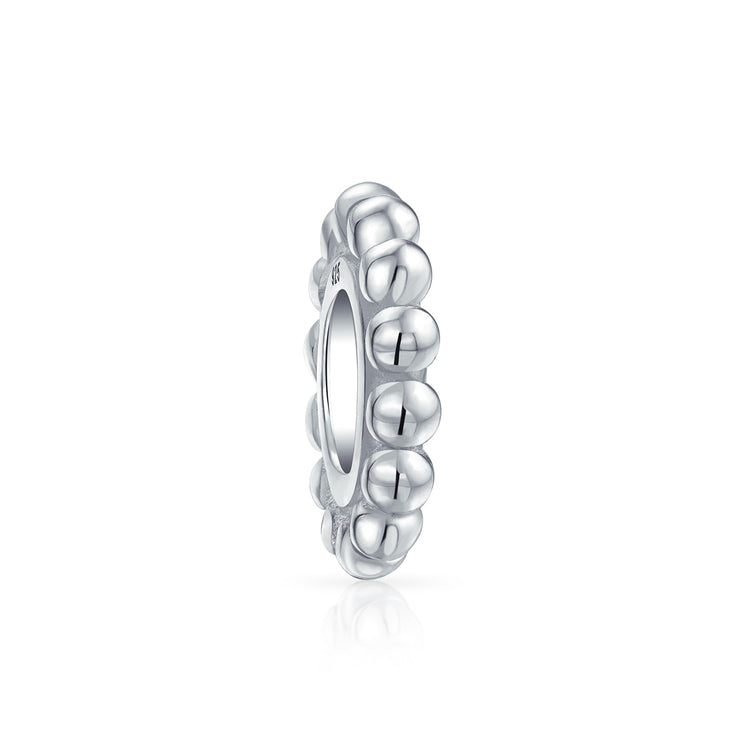 Caviar Thin Beaded Cable Bead Charm Spacer 925 Sterling Silver