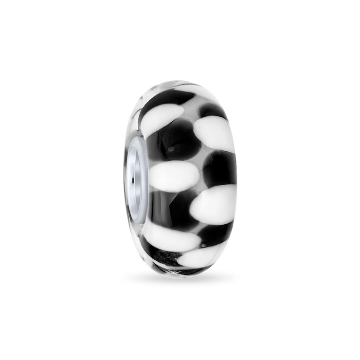 Black Checkerboard Murano Glass Bead Charm Spacer .925 Sterling Silver