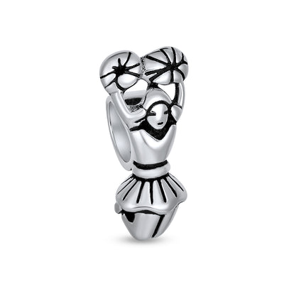 School Spirit Sports Cheer Cheerleader Charm Bead .925 Sterling Silver