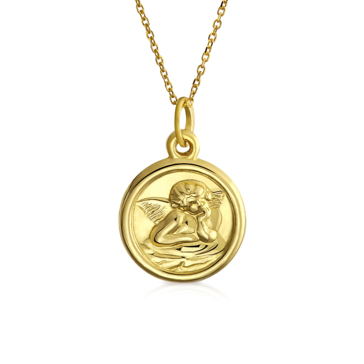 14K Yellow Real Gold Angel Pendant Gold Chain Necklace Communion