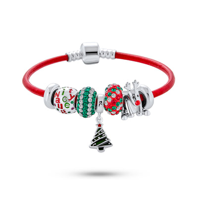 Merry Christmas Tree Charm Multi Bracelet Red Leather .925 Sterling Silver