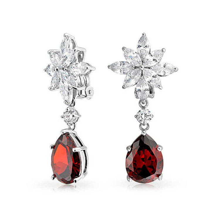 Red Teardrop CZ Dangle Clip On Earrings Imitation Ruby Silver Plated