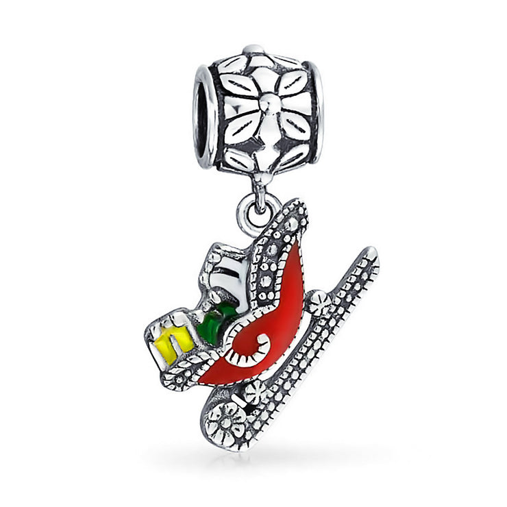 Christmas Red Santa Claus Sleigh Dangle Charm Bead 925 Sterling Silver