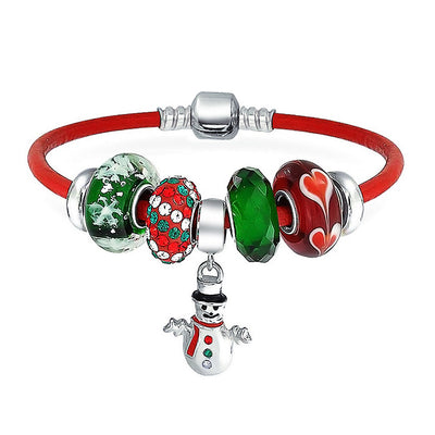 Christmas Snowman Winter Charm Bracelet Red Leather Sterling Silver