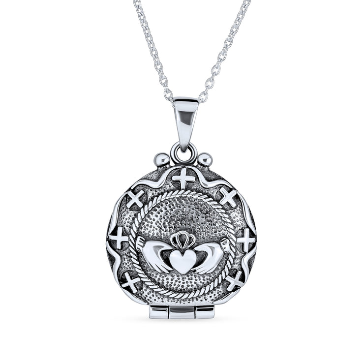 Irish Celtic Claddagh Round Necklace Heart Locket Momenta Diffuser