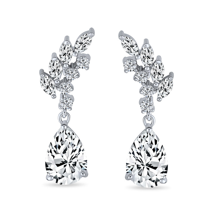 Prom Bridal Leaf Teardrop Drop Clusters Dangle Earrings Silver Plated