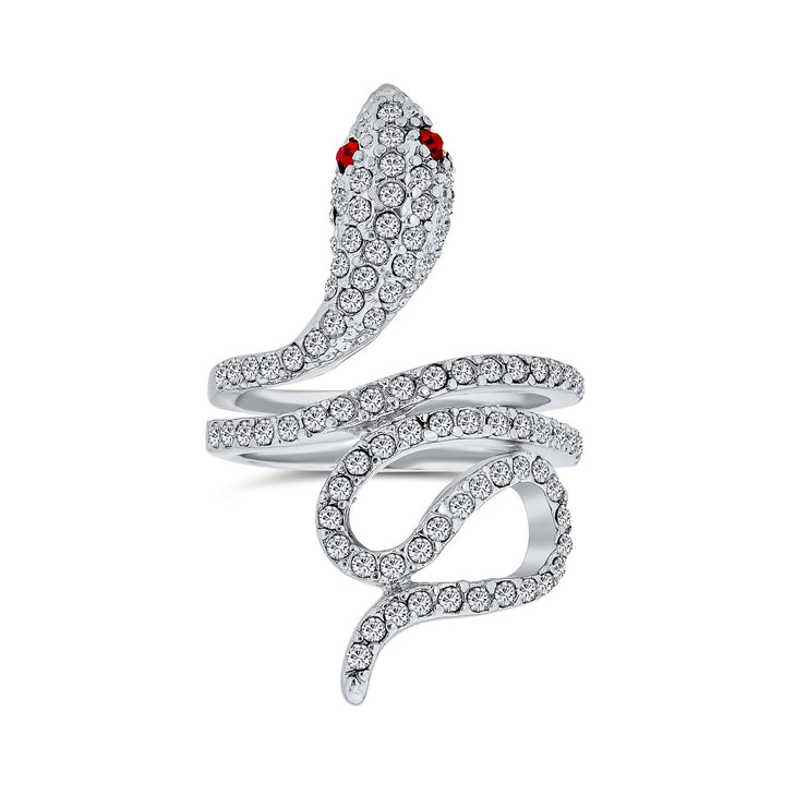 Spiral Wrap Serpent Snake Ring Red Eye Pave CZ Silver Plated Brass