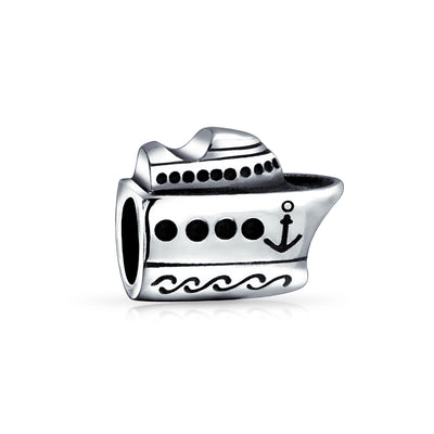 Cruise Ship Travel Yacht Boat Captain Bead Charm 925 Sterling Silver