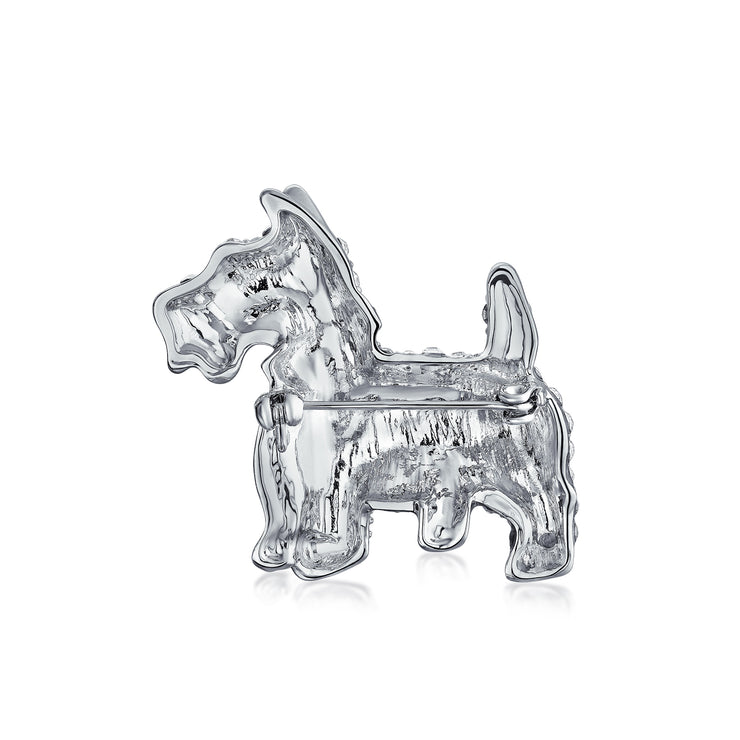 Crystal Scottie Dog Pet Animal Brooch Pin Silver Tone Silver Plated