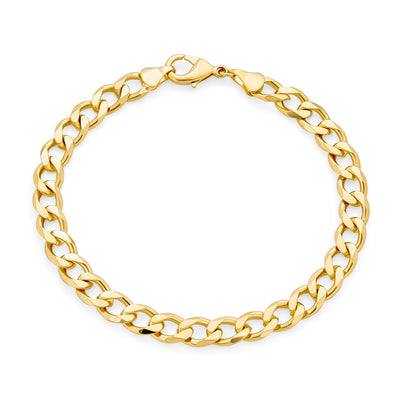 Heavy Mens Cuban Curb Link Bracelet 180 Gauge High Polish Gold Plated