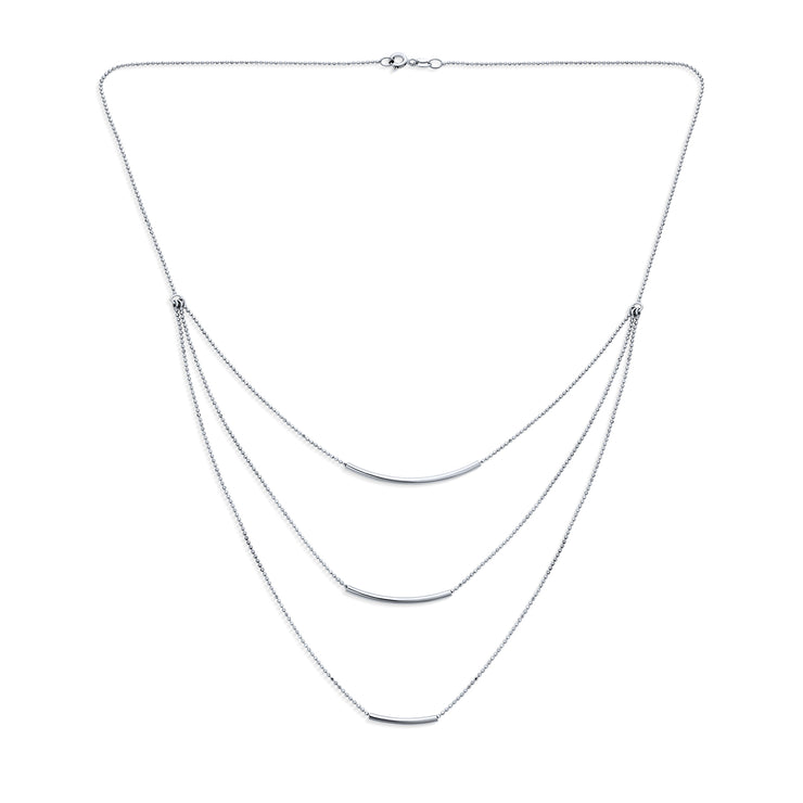 Layered Three Strand Chain Necklace Curved Bar 925 Sterling Silver