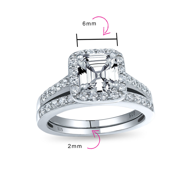 2CT Solitaire Asscher Cut AAA CZ Engagement Ring Set Sterling Silver