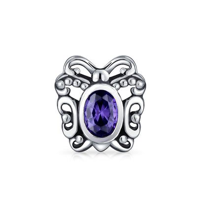 Purple Butterfly Bead Simulated Amethyst CZ Charm 925 Sterling Silver