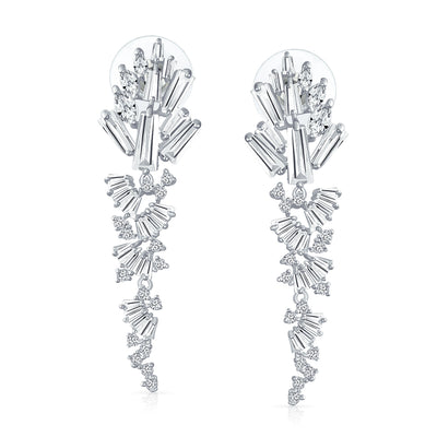 Statement Bride Waterfall Marquise CZ Dangle Earrings Silver Plated