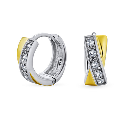 Criss Cross Hoop Earrings Hoop CZ Gold Plated Sterling Silver
