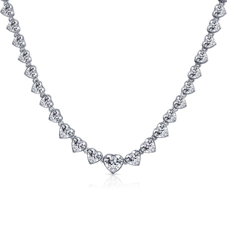 Love Tennis Collar Necklace V Shaped CZ Silver Tone Silver Plated