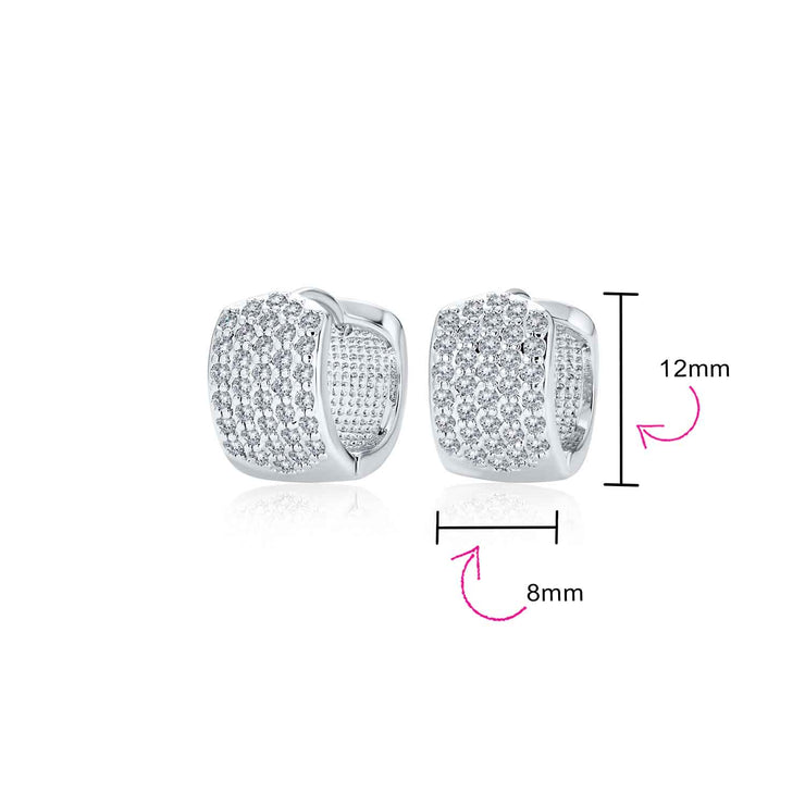 4 Four Row Cubic Zirconia CZ Wide Hoop Earrings Silver Plated