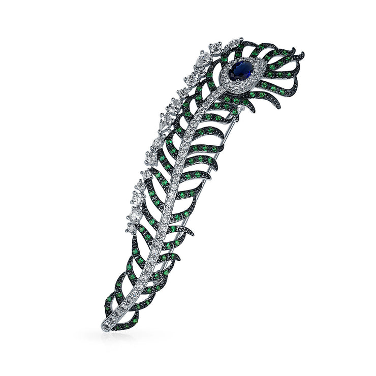 Elegant Long Peacock Feather Multicolor Cubic Zirconia Brooch Pin