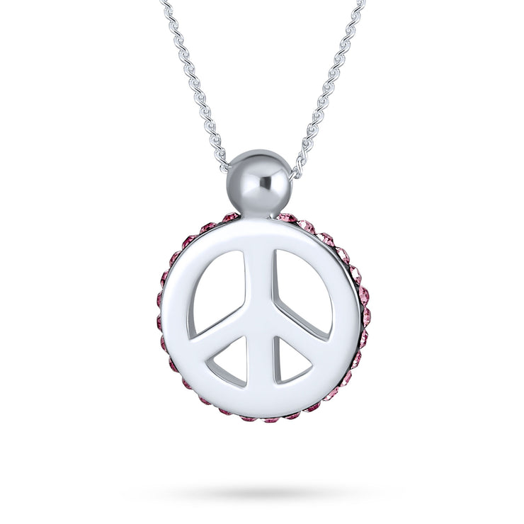 Peace Pendant Pink Crystal Edge Charm Sterling Silver Necklace 18 In