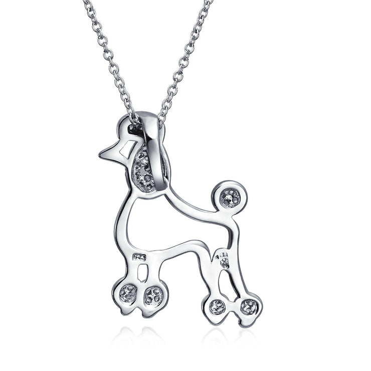 Proud Poodle Puppy Dog Necklace Cubic Zirconia 925 Sterling Silver