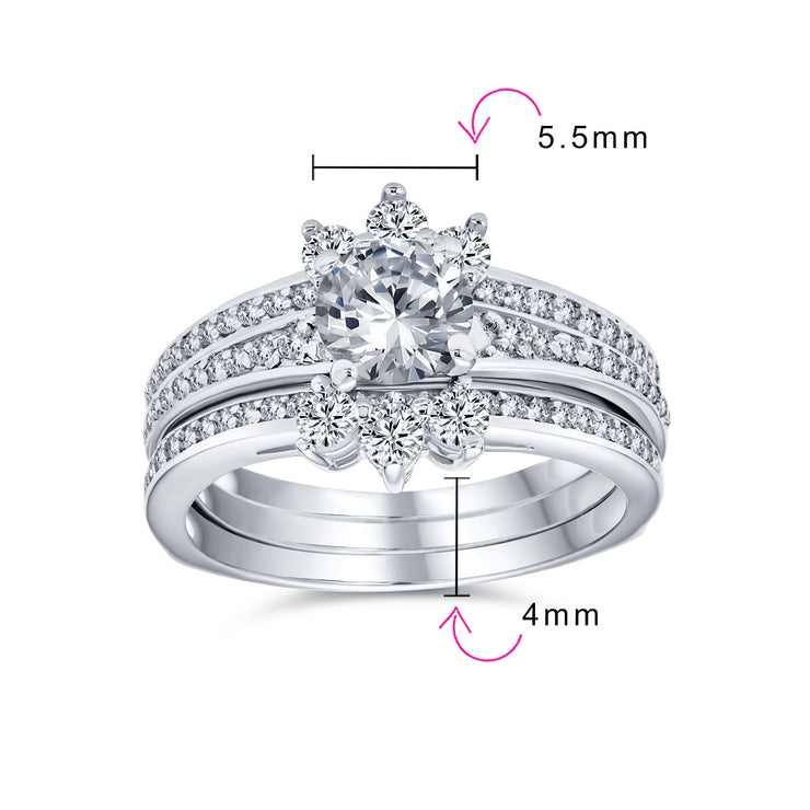 1.5CT Solitaire AA CZ Halo Engagement Wedding Ring Set Sterling Silver