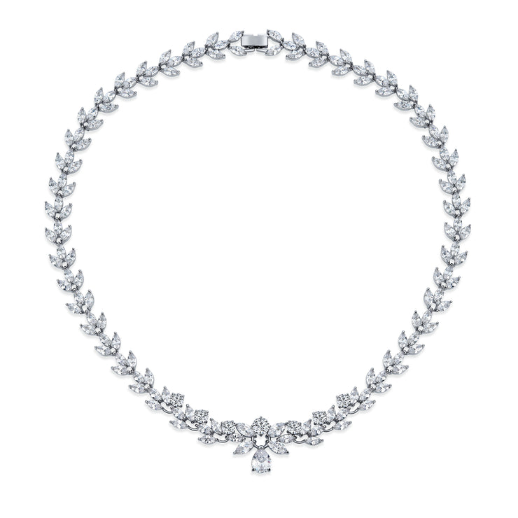 Tennis Collar Necklace Marquise Cut Drop Teardrop CZ Silver Tone