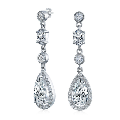 CZ Teardrop Dangle Chandelier Prom Statement Earrings Sterling Silver