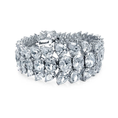 Bridal Wedding Prom Wide Statement Bracelet Cluster CZ Silver Plated